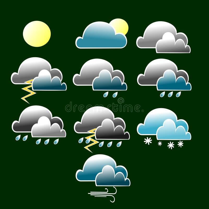 Varia icona di condizioni atmosferiche con la nuvola blu e grigia royalty illustrazione gratis