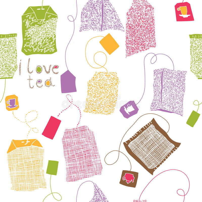 Varia impresión colorida de las bolsitas de té libre illustration