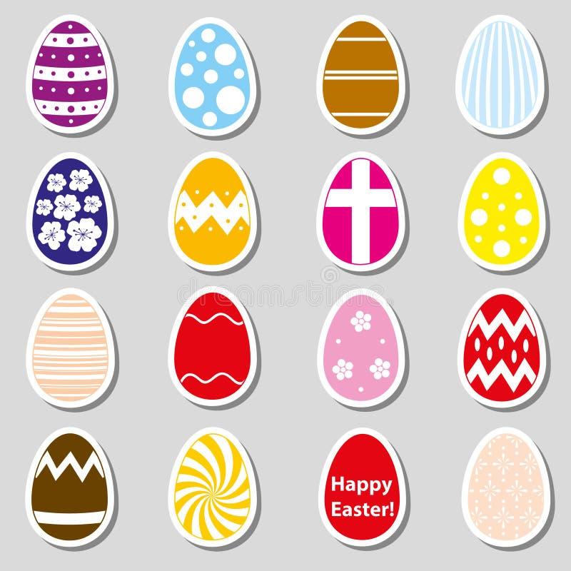 Varia raccolta degli autoadesivi delle uova di Pasqua di colore royalty illustrazione gratis
