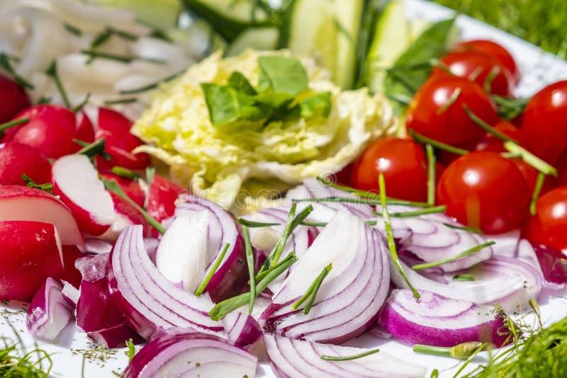 Varia verdura sul piatto fotografia stock libera da diritti