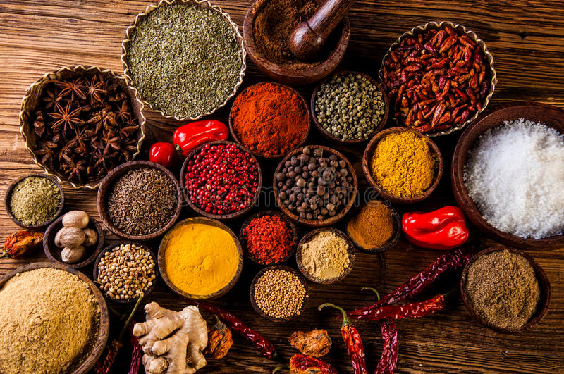 Variability Asian Spices Wooden Table Stock Images - Download 30