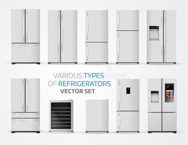 Variable Arten von Kühlschränken Realistischer Satz auf weißem backgrou vektor abbildung