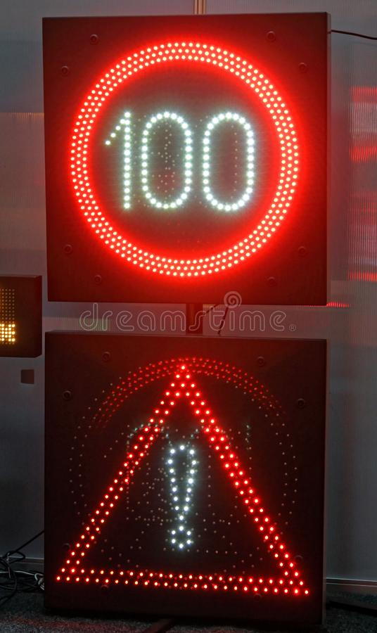 Led Signs. Variable Speed Limit and Warning Led Signs stock image