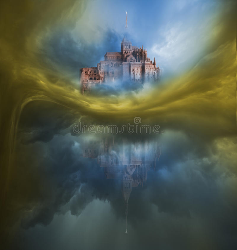 Variación colorida de las nubes con Mont Saint Michel stock de ilustración