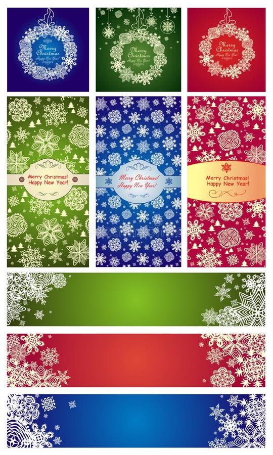 Variación de las etiquetas de Navidad con los copos de nieve de papel stock de ilustración