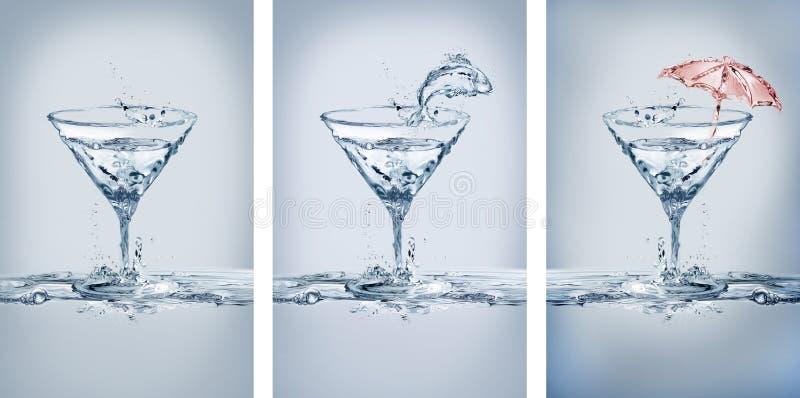 Variaciones de los vidrios de Martini del agua fotografía de archivo