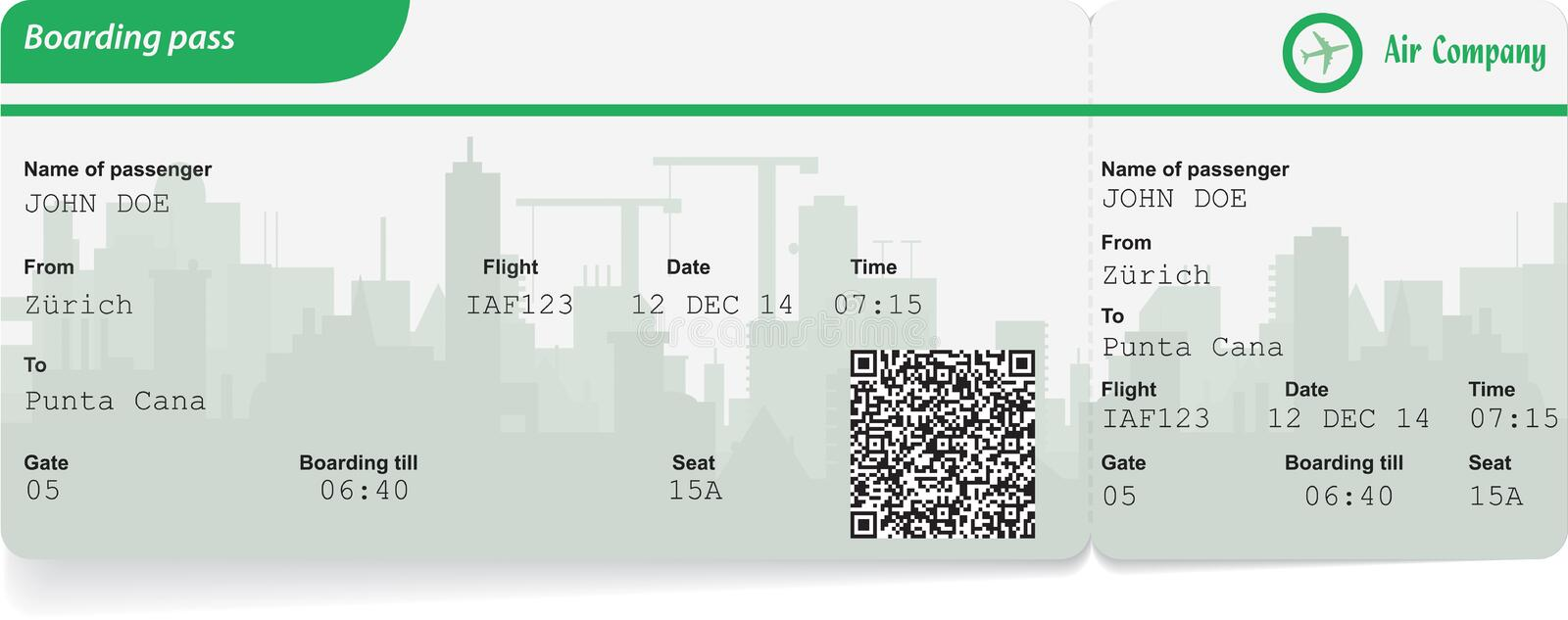 Variant of boarding pass. Isolated on white. Vector illustration vector illustration