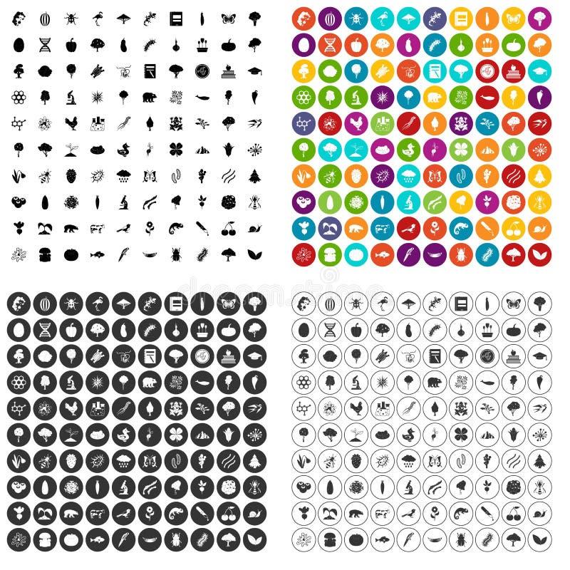 variant för vektor för 100 mikrobiologisymboler fastställd stock illustrationer