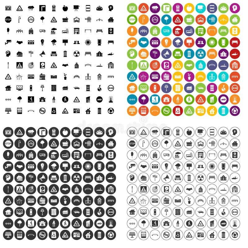 variant för vektor för 100 symboler för stads- planläggning fastställd stock illustrationer