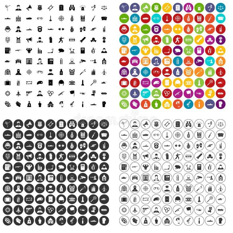 variant för vektor för 100 tjänstemansymboler fastställd royaltyfri illustrationer