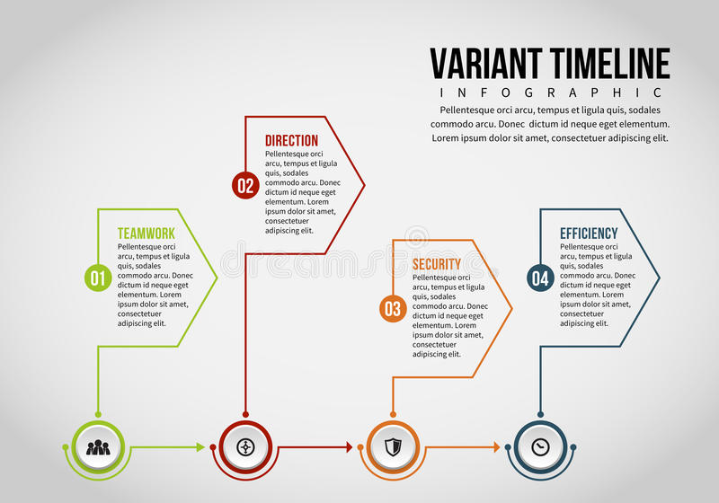 Variant Timeline Infographic. Vector illustration of variant timeline infographic design element vector illustration