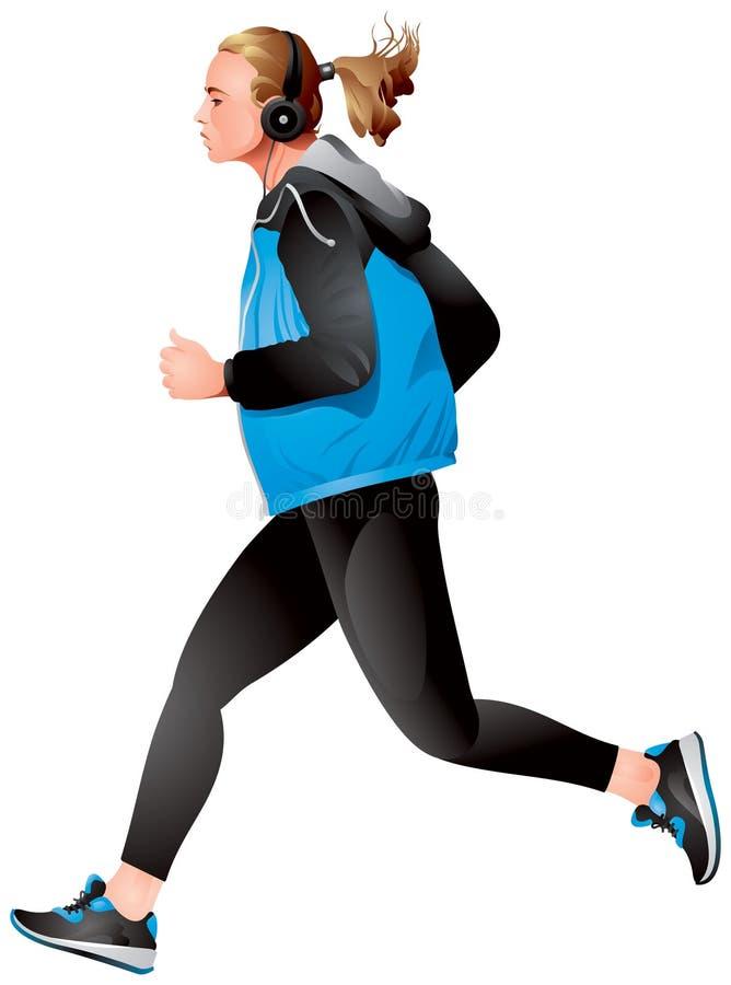 Variante corrente 2, giovane sportiva della ragazza che pareggia illustrazione di stock