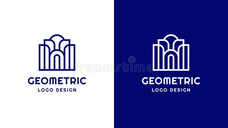 Variante de la plantilla del logotipo del templo, positiva y negativa, identidad corporativa para las marcas, logotipo azul del p libre illustration