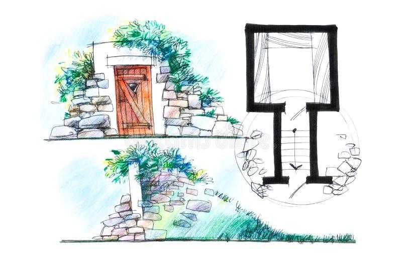 Variante de un ejemplo del diseño del sótano libre illustration