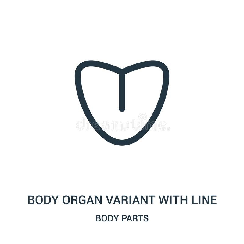 variante del órgano del cuerpo con la línea vector del icono de la colección de las partes del cuerpo Línea fina variante del órg stock de ilustración