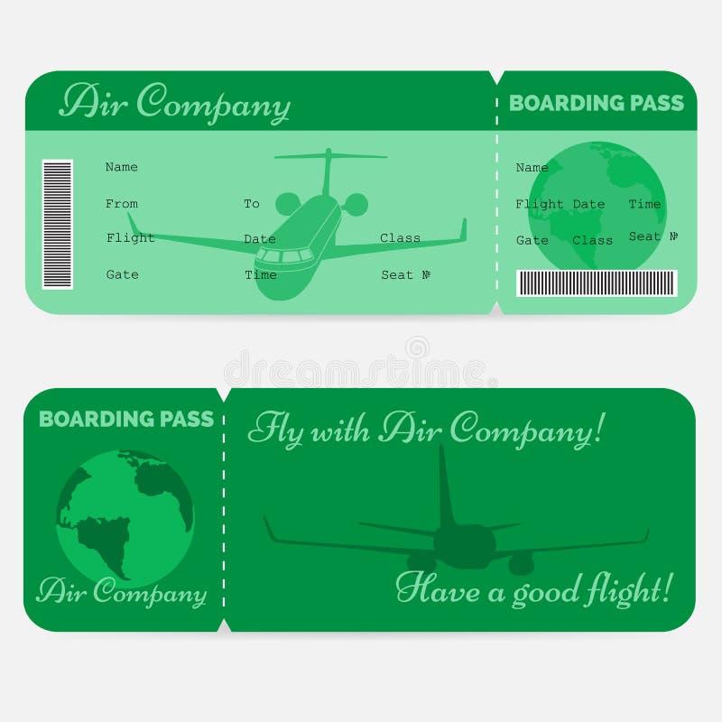 Variante del passaggio di imbarco di linea aerea Biglietto verde royalty illustrazione gratis