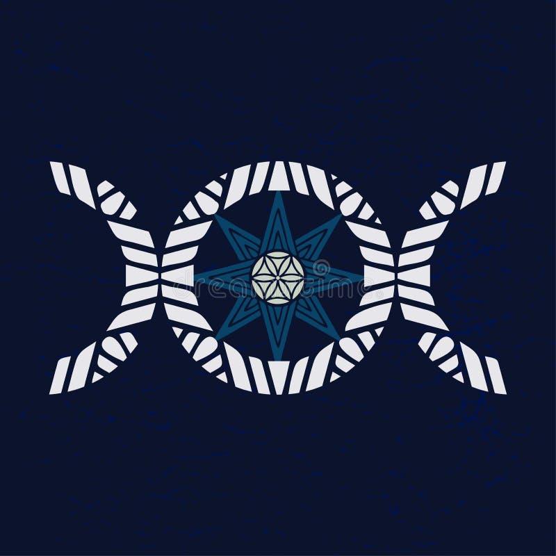Variante moderne du symbole triple de déesse de lune avec l'étoile de huit points, symbole de différents dieux antiques illustration stock