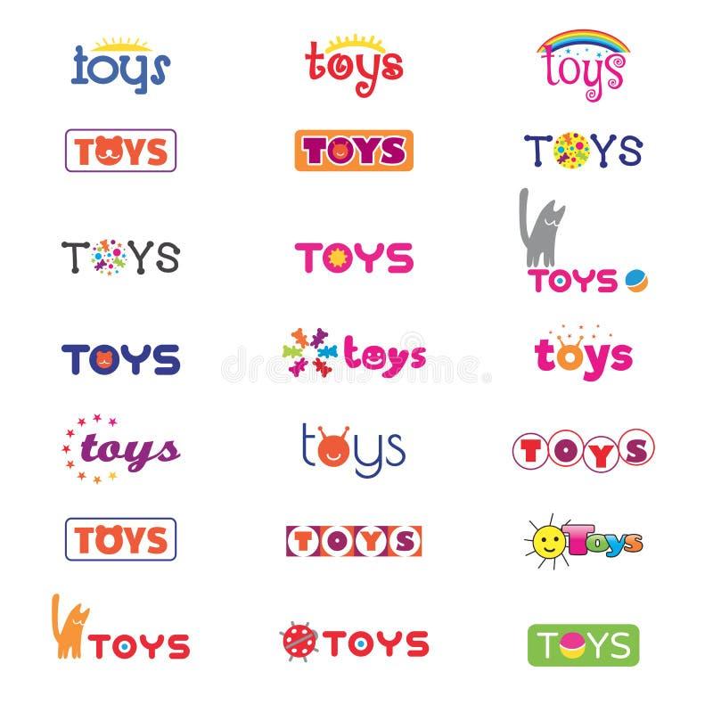 Variantes des logos et des icônes sur le thème des jouets du ` s d'enfants Vecteur illustration stock