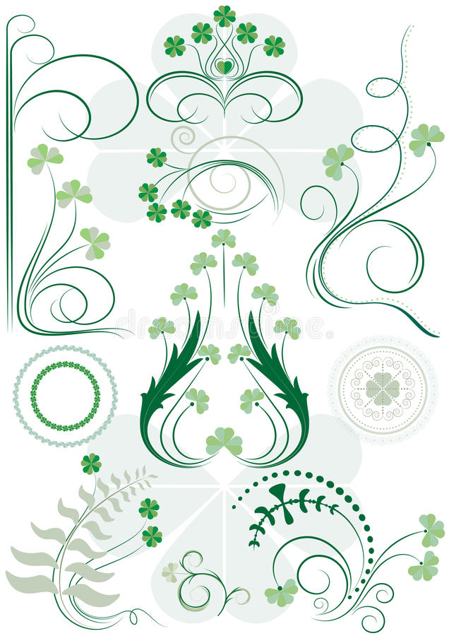 Download Variants Brush Patterns Of Leaves Clovers Stock Photography - Image: 29637162