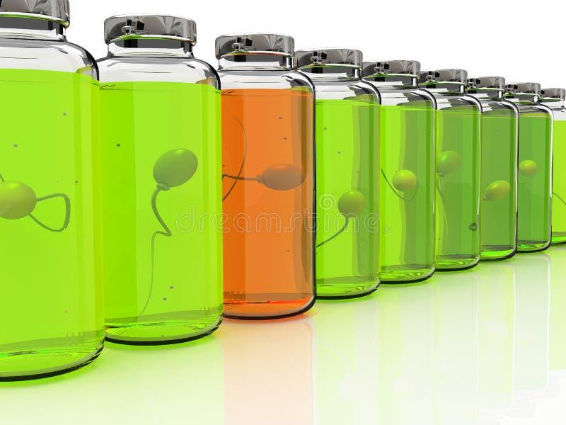 Varias baterías con la esperma en el fondo blanco ilustración del vector
