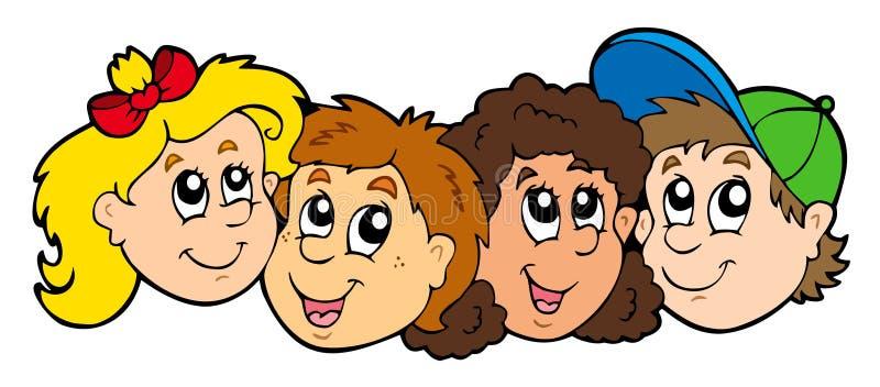 Varias caras de los cabritos stock de ilustración