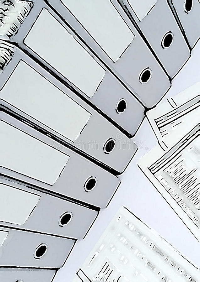 Varias carpetas de anillo con informes en un contexto del negocio libre illustration