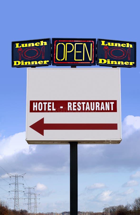 Varias carteleras del hotel-restaurante-almuerzo-comensal imágenes de archivo libres de regalías
