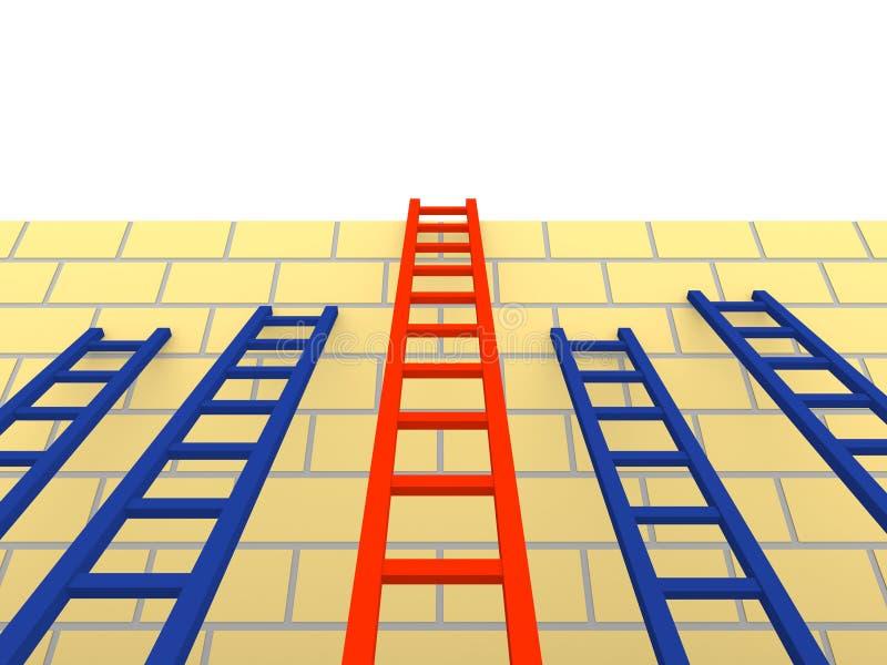 Varias escaleras con diversa longitud que inclina la pared de ladrillo ilustración del vector