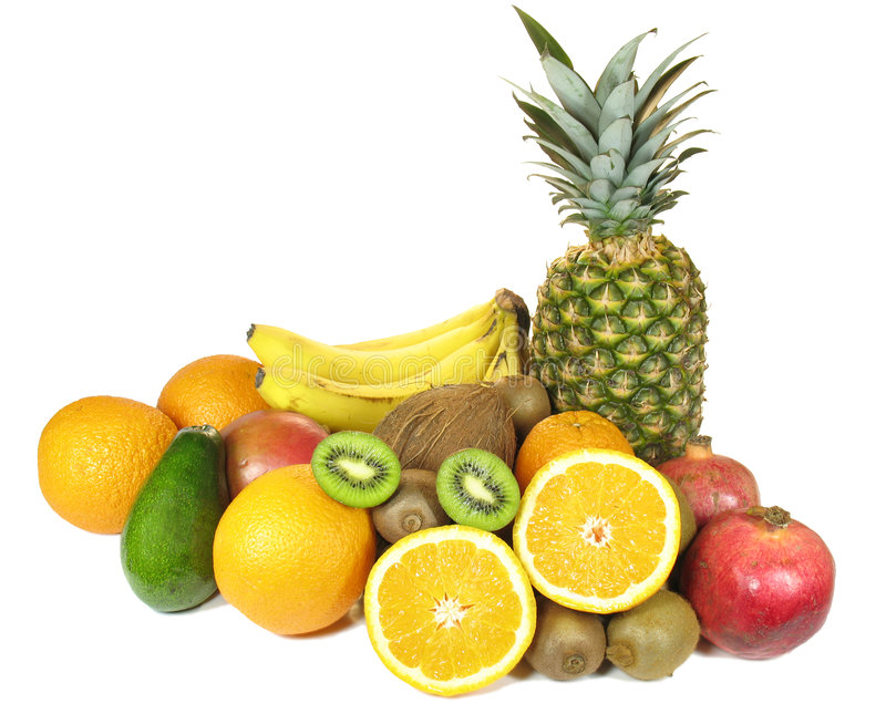 Varias frutas aisladas en el fondo blanco fotografía de archivo