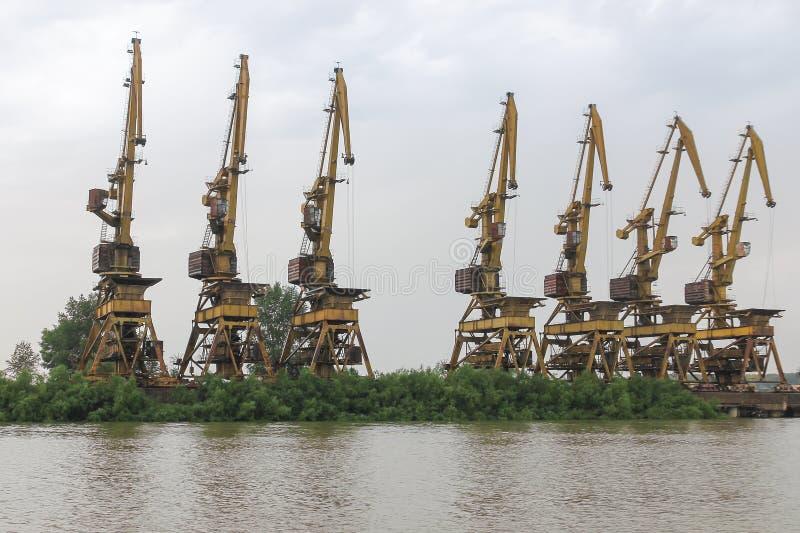 Varias grúas de pórtico oxidadas viejas se colocan en fila en una orilla del río demasiado grande para su edad foto de archivo libre de regalías