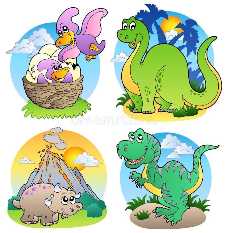 Varias imágenes 2 del dinosaurio ilustración del vector