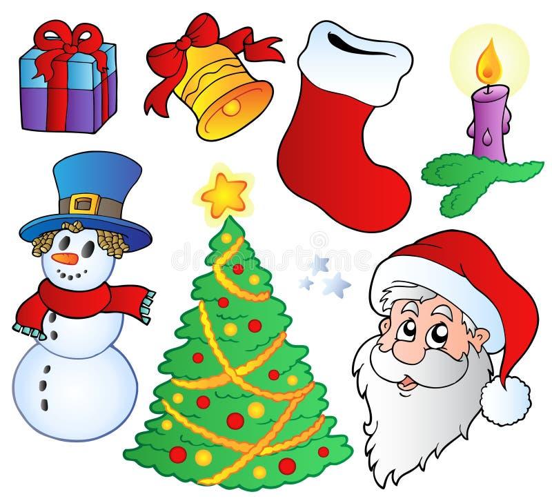 Varias imágenes de la Navidad ilustración del vector