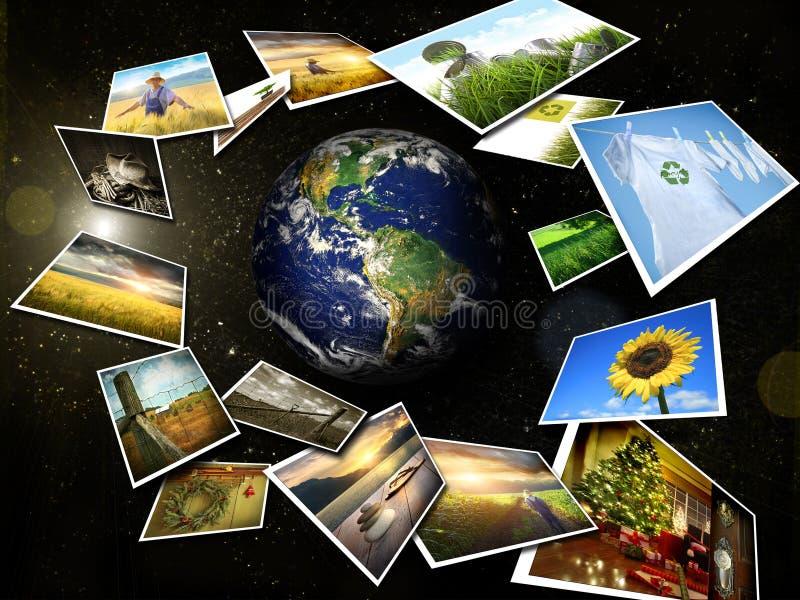 Varias imágenes que fluyen alrededor de la tierra ilustración del vector