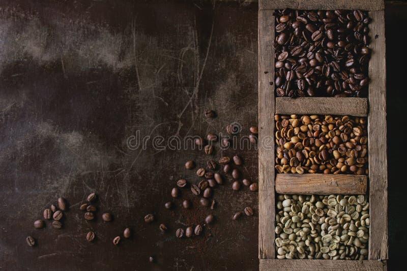 Variatie van koffiebonen stock foto