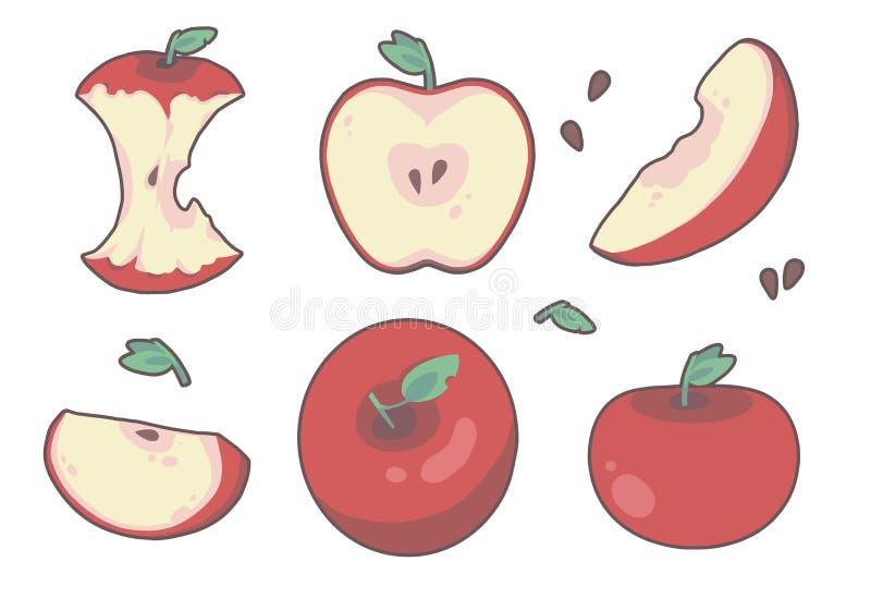 Variatie van verschillend getrokken rood de appelfruit van de beeldverhaalstijl, met inbegrip van plakken, kernen en de helften royalty-vrije illustratie