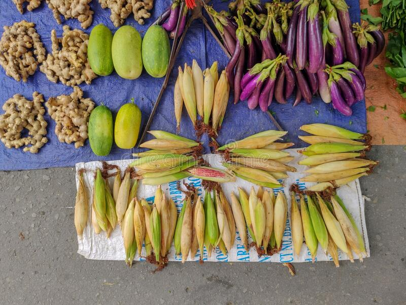 Variaties of crops sale on local market street located in Sabah, Malaysia royalty free stock photos