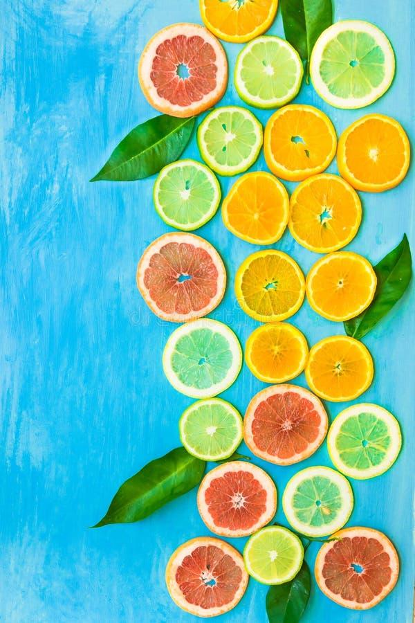 Variation av färgrika skivade citrusfruktapelsiner, grapefrukter, citroner, limefrukter med gröna sidor på blå bakgrund, utformad arkivbild