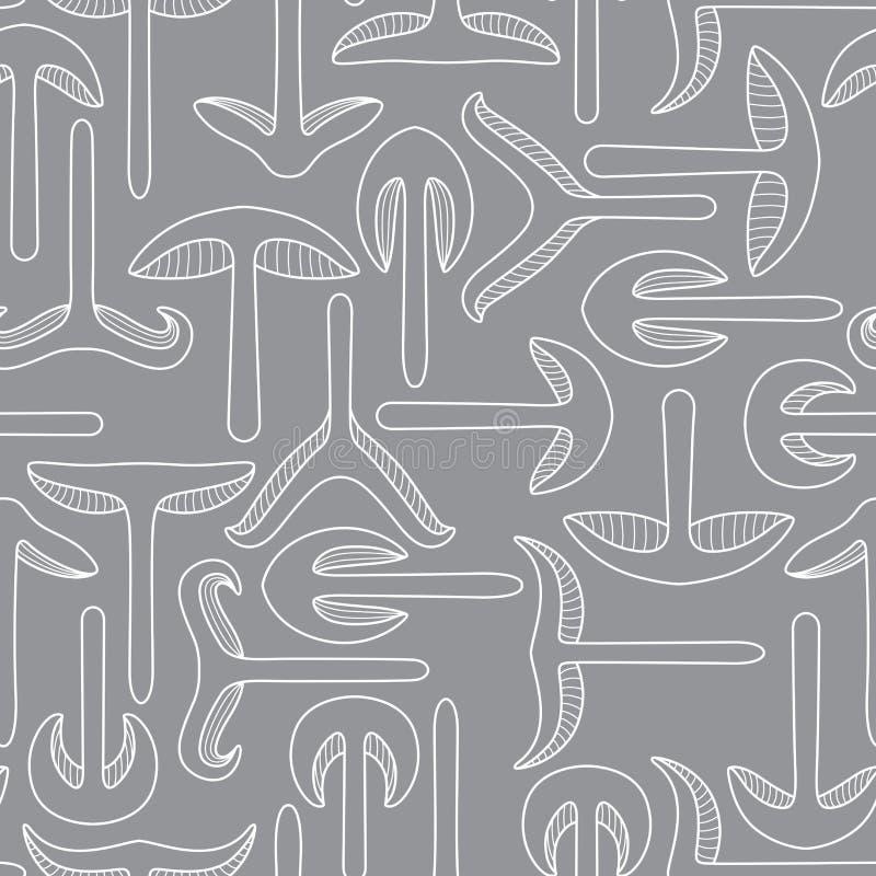 Variation av former av champinjoner Skivad sömlös modell för champinjon vektor illustrationer