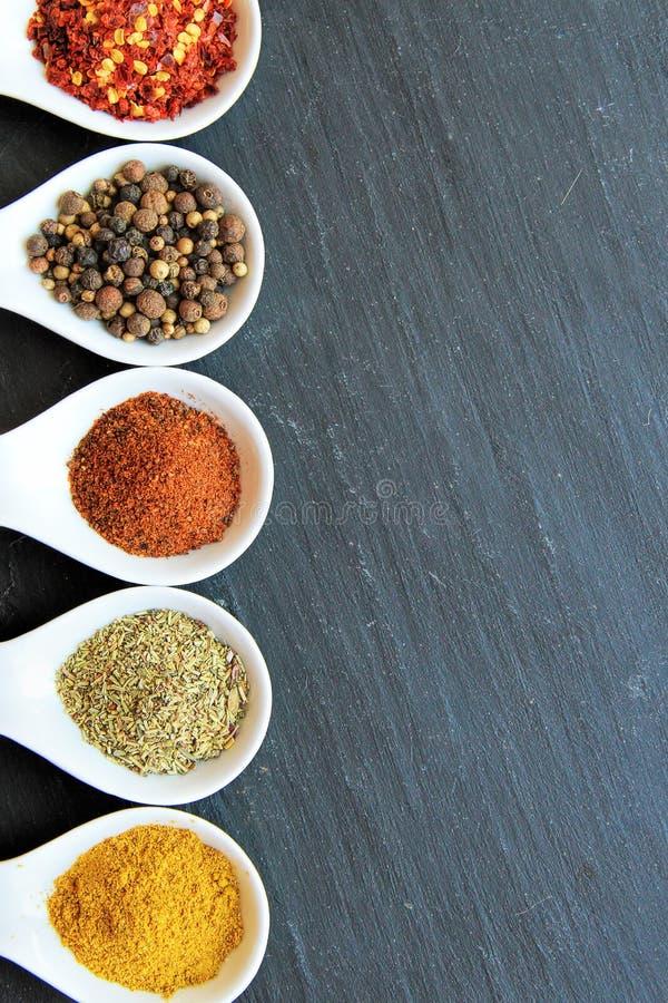 Variation av kryddor på en svart skiva royaltyfri foto