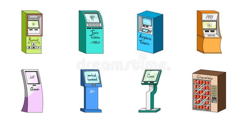 Variation av terminalsymboler i uppsättningsamlingen för design ATM och symbolet för handelapparatvektor lagerför rengöringsdukil vektor illustrationer
