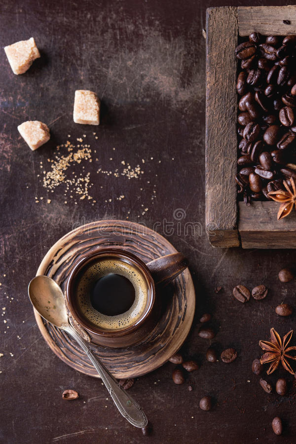 Variation of coffee beans stock photos