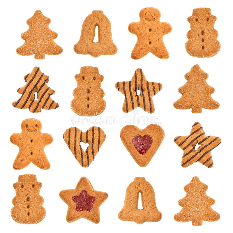 Free Variation Of Christmas Cookies Isolated On White Stock Photo - 32945220