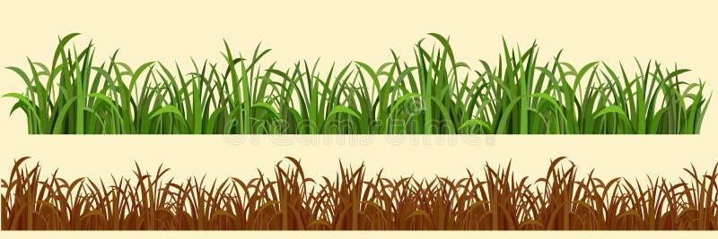 Variationer för tecknad filmgräs i rad itu vektor illustrationer