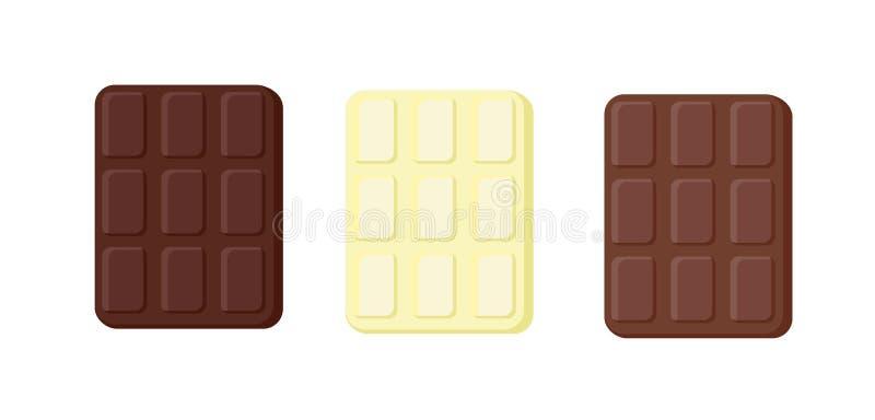 Variationer för vektor tre av choklad Objekt som isoleras på ett lager Beståndsdelar av sötsaker Matillustration för kort stock illustrationer