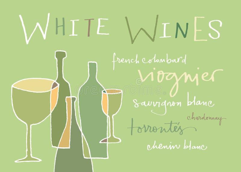 Variationer för vita viner stock illustrationer