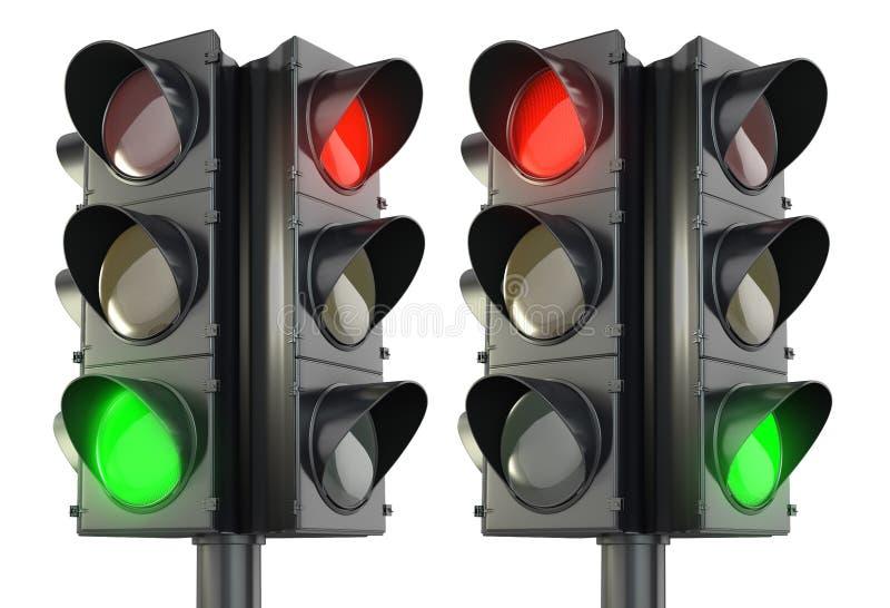 Variations rouges et vertes de lightm de circulation dégrossi par quatre illustration de vecteur