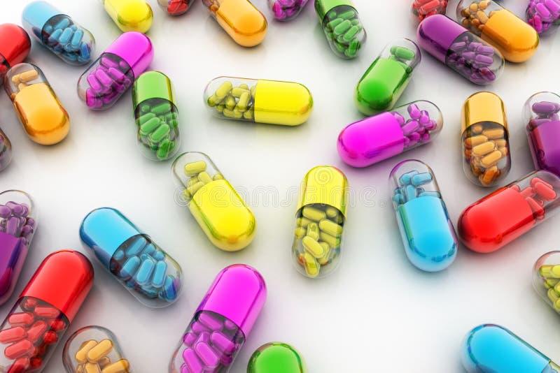 Variationspreventivpillerar Vitaminkapslar 3d vektor illustrationer
