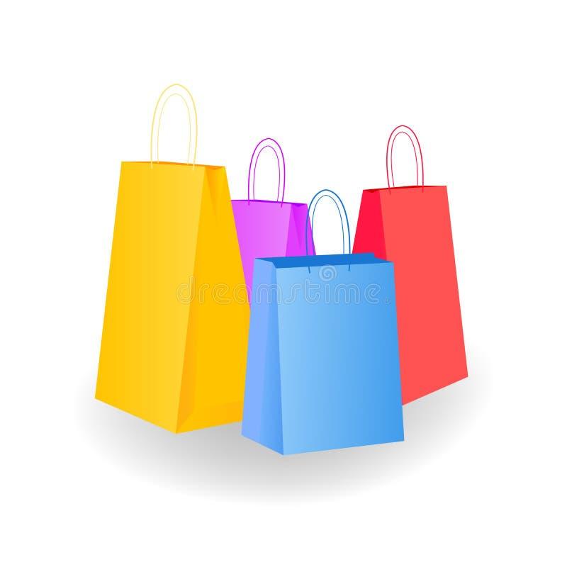 Variazione mega Una collezione di borse vuote variopinte è isolata nel bianco Illustrazioni di vettore illustrazione di stock
