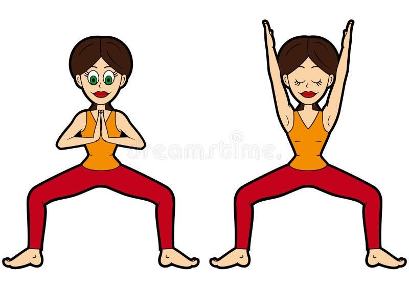 Variazioni di posa della dea o del tempio dell'insieme di asana di yoga immagine stock