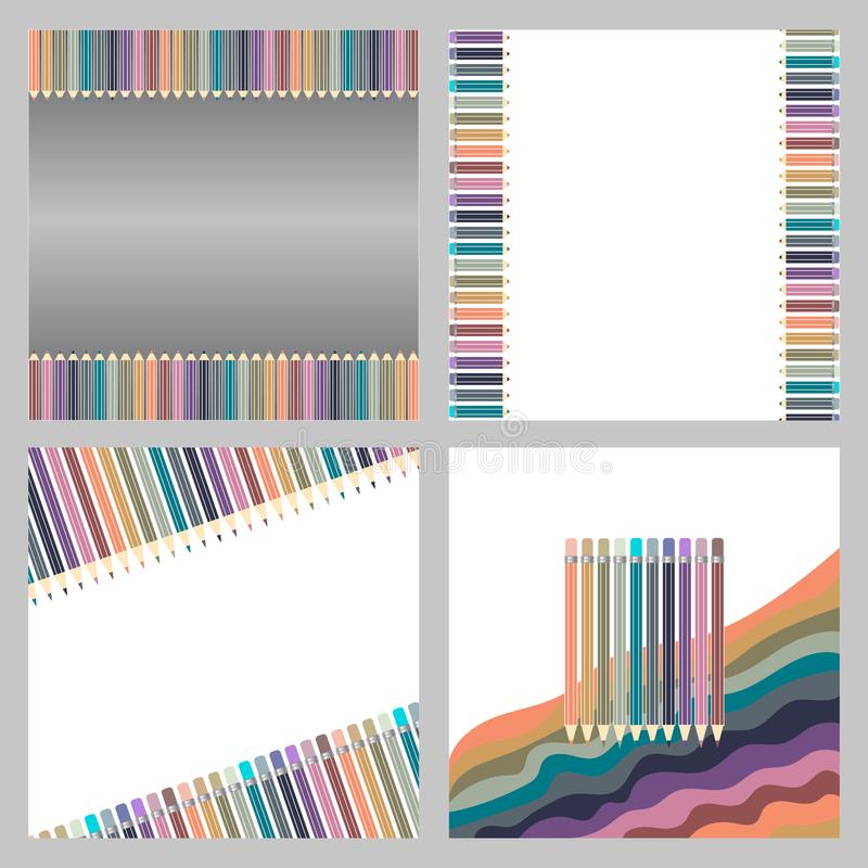 Varicolored kolorów ołówki ustawiają odosobnionego na białym tle klamerki lubią biurowe zupne dostawy ilustracja wektor
